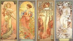 Alphonse Mucha (1860-1939). The Seasons (series). 1900. Colour lithograph. Mucha Museum - Prague - Czech Republic