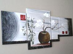 Tableau VENDU quadriptyque zen dégradé gris ,fleurs de magnolia blanches Collection 2016 : Peintures par peinture-crea