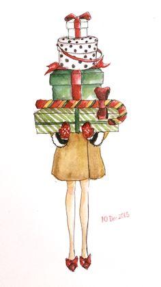 Get ready for Christmas! Watercolor 1 0 d e c 1 3 GI: LingyiCheung Painted Christmas Cards, Watercolor Christmas Cards, Christmas Drawing, Christmas Paintings, Christmas Love, Watercolor Cards, Christmas Pictures, Winter Christmas, Vintage Christmas