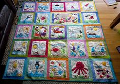 Puget sound quilt, third graders, children given rainbow of fabrics with fusible web prefused, they only had to cut it out. Maybe do able as a send home project?