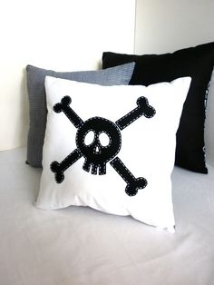 WHITE SKULL & CROSSBONE Pillow Cushion with black and white spot back
