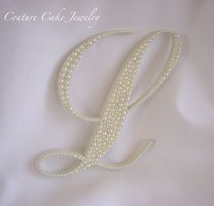 LOVELY Monogram Cake Topper with Ivory Pearls!   #pearlinitial #pearlcaketopper #fauxpearls