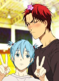 Kagami Taiga and Kuroko Tetsuya (why is this reminding me of Nagisa and Karma. Manga Anime, Fanarts Anime, Anime Guys, Anime Characters, Anime Art, Kuroko No Basket, Anime Basket, Kagami Kuroko, Kagami Taiga