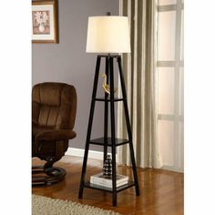 Amazon.com - Artiva USA A21038FLB Elliot Wood Shelf Floor Lamp, Java Black - Floor Lamps With Shelves
