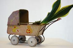 Vintage Tin Litho Doll Carriage Vintage Tin by TheEclecticInterior, $55.00 #EtsyAAA #Etsy