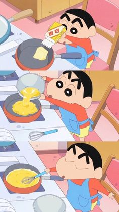 It's really very rare to see him engrossed in cooking like that! Sinchan Wallpaper, Snoopy Wallpaper, Kawaii Wallpaper, Disney Wallpaper, Cute Cartoon Wallpapers, Pretty Wallpapers, Anime Manga, Anime Art, Cute Characters