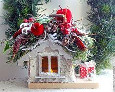 Домик лесника - ярко-красный,серый,береста,Новый Год,рождество,сувенир
