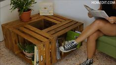 Crate Coffee Table on Wheels – DIY Need a coffee table that includes storage…and is portable? Make one from wooden crates Crate Coffee Table on Wheels – DIY