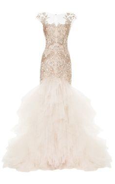 Metallic Threadwork Tulle Fishtail Gown by Marchesa for Preorder on Moda Operandi  REAL LINK