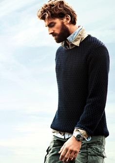 """Calle Strand, favorite male model <3"" - says previous Pinner.  - Seriously though, this guy has a studly beard & I love the sweater."
