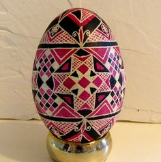 Ukrainian Egg Pysanky Goose egg in black and pink by Suzy6281, $50.00