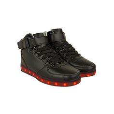 Black Faux Leather Lace Up Fashion Trainers LED USB Flashing Sneakers - Flashy