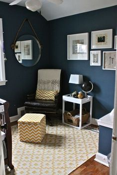 Blue Boys Room young boys bedroom using navy blue and grey with orange accents