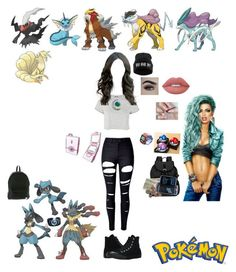 """""""Pokémon"""" by guadalupe-pablo on Polyvore featuring Topshop, WithChic, Sherpani, Roxy, Converse and Lime Crime"""