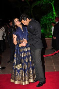 Mumbai: Actor Riteish Deshmukh along with his wife Genelia D'Souza during Arpita Khan's marriage reception in Mumbai, on November 21, 2014. (Photo: IANS)