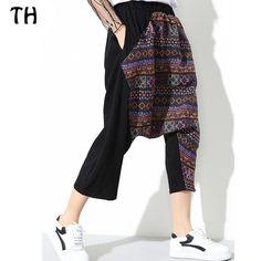 National Style Patchwork Summer Cotton Linen Pants Women Loose Casual Harem  Trousers Pantalon Femme  170300 01c0203bd2a