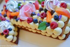 Tort cifra cu crema de lamaie - Lucky Cake Lucky Cake, Birthday Cake, Desserts, Food, Activities, Birthday Cakes, Meal, Deserts, Essen