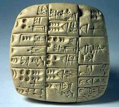 Ancient Sumerian script tablet c. 3100B.C.
