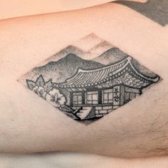 Korean old castle and Busan writing tattoo