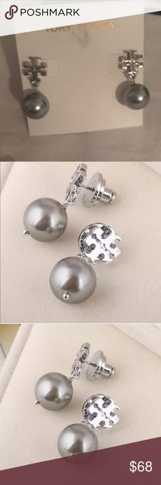 """Tory Burch Dark Silver crystal Pearl Drop Earrings Authentic Tory Burch Crystal Pearl Logo Rose Gold Tone Drop Earrings 16K Gold tone plated, post closurre Length: 1.2"""", Drop: 0.9"""" New without tags or card but does include Tory Burch jewelry pouch or gift box. Retail Price with Tax and Shipping is Approximately $96 Tory Burch Jewelry Earrings"""