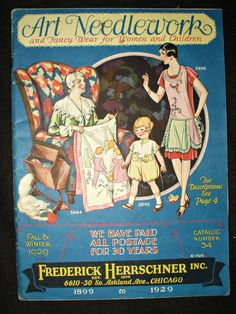 This 1929 Frederick Herrschner catalog is chocked full of needle arts. 89 pages, some in color, offer many idea and suggestions for the modern needlewoman. From decorating the home to dressing child