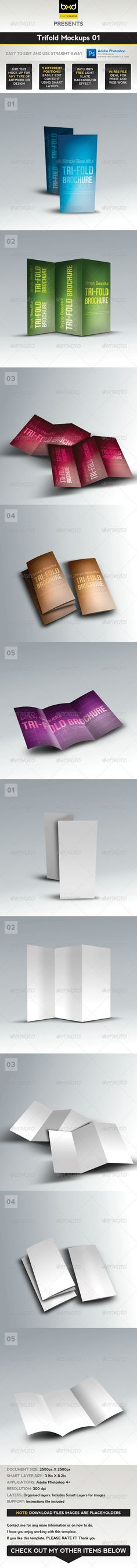 Buy Trifold Brochure Mock-ups 01 by BoxedCreative on GraphicRiver. This is a photo-realistic trifold brochure mock-up that can be used for any type of artwork/design. The clean, crisp,. Graphic Design Templates, Print Templates, Brochure Inspiration, Business Flyer Templates, Artwork Design, Business Card Logo, Mockup, Colorful Backgrounds, Layout
