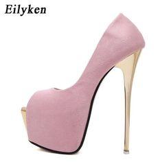 dff6e3e88a946b Eilyken Women Pumps high heels Womens Sexy Peep Toe Pumps Platform shoes  White Black Pink Wedding Party shoes size 34-40