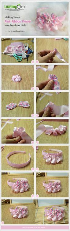 Making Sweet Pink Ribbon Flower Headbands for Girls Ribbon Art, Diy Ribbon, Ribbon Crafts, Flower Crafts, Ribbon Bows, Ribbon Flower, Ribbons, Ribbon Headbands, Diy Headband