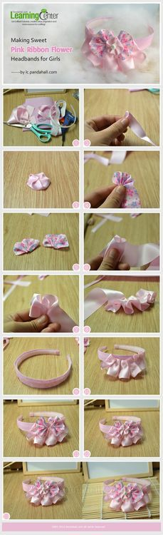 Jewelry Making Tutorial-Make Sweet Pink Ribbon Flower Headbands | PandaHall Beads Jewelry Blog