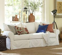 Seating   PB Basic Sofa | Pottery Barn   Slipcovered Sofa, White  Slipcovered Sofa,