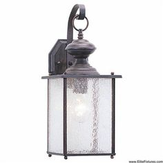Sea Gull Lighting 8882-08 Single-Light Jamestowne Wall Lantern with Clear Seeded Glass, Textured Rust Patina, 7-Inch W, 17-Inch H by Sea Gull Lighting. $90.16. From the Manufacturer                Jamestowne Collection Single-Light Outdoor Wall Lantern in Classic Form with Textured Rust Patina Finish and Clear Seeded Glass is generous welcoming light from this unassuming yet stylish collection. The warm and natural finish of textured rust patina finish over sol...