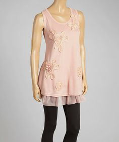Love this Peach Floral Appliqué Tulle Linen-Blend Sleeveless Tunic by Pretty Angel on #zulily! #zulilyfinds