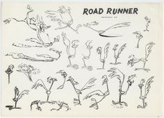 Model sheet for Road Runner. Funny detail: Wile E. Coyote finally catches the Road Runner!
