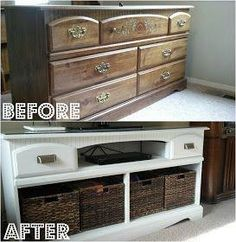 Refurbished dresser for living room. This looks so chic and so inexpensive! You can find the baskets CHEAP at the Christmas Tree Shop or Burlingtons!
