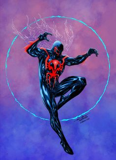 Spider-man 2099 - Crisstiano Cruz Colors by SpiderGuile on DeviantArt Comic Book Artists, Comic Book Characters, Marvel Characters, Comic Books Art, Comic Art, Comic Character, Spiderman Venom, Spiderman Art, Amazing Spiderman