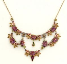 Michal Negrin Jewelry Rose Flowers Gold Leaves Necklace