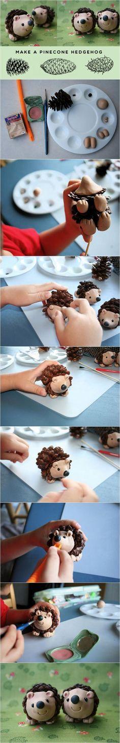 DIY a pine-cone hedgehog for Kids | DIY Crafts Tips