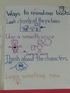 Ways to Reread our Books Anchor Chart