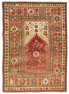 A MELAS PRAYER RUG, SOUTHWEST ANATOLIA approximately 5ft. 4in. by 3ft. 10in. (1.62 by 1.17m.)  last quarter 19th century