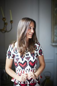 Pippa Middleton in a bold print dress with some peplum.