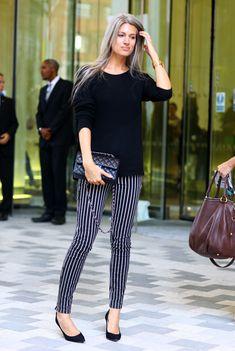 Sarah Harris, British Vogue, Stripey Pants | Street Fashion | Street Peeper | Global Street Fashion and Street Style
