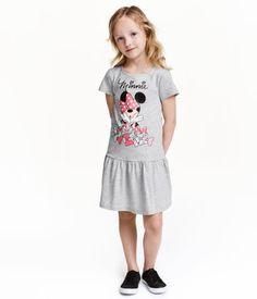 Jerseykleid mit Druck   Graumeliert/Minnie Maus   Kinder   H&M DE