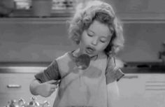 Shirley Temple in a scene shot from Bright Eyes