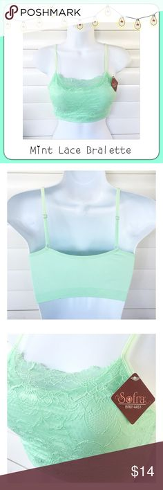 """BOGO 1/2 OFF Mint Lace Bralette Cami Bra Top  BOGO 1/2 OFF see Sale Post in my closet for more details   Closet staple! Mint lace bralette with adjustable straps...super stretchy with padded cups...great quality! Brand: Sofra (Fashionomics) Size: One Size (generous for one size, would probably best fit small or medium) Measurements: chest - 14"""" flat, unstretched Condition: brand new Fashionomics Intimates & Sleepwear Bras"""