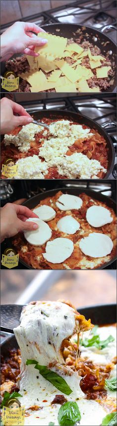 One Pot Skillet Lasagna - Cook with me in this step-by-step, easy and delicious lasagna recipe for a busy weeknight that requires no layering and multiple pots! <3 <3