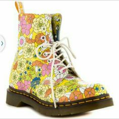 NEW- DR. MARTEN'S Floral Boots - Leather floral Dr. Marten's  BRAND NEW, NEVER WORN SIZE: 7 WOMEN'S  I work in L.A as a wardrobe stylist for film and television. All my items are authentic and come from high end boutiques or stores. Thanks. Dr. Martens Shoes