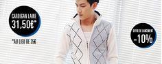 Cardigan bicolore imprimé losanges en laine - http://www.menrags.com/vetements/cardigan-bicolore-imprime-losanges-en-laine/