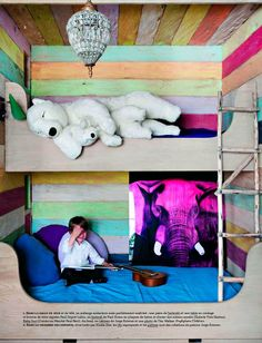 A new take on bunkbeds. how wonderful is this reclaimed wood bunk room. My New Room, My Room, Hm Deco, Ideas Habitaciones, Ideas Dormitorios, Bunk Beds Built In, Deco Kids, Cool Kids Rooms, Kid Spaces