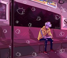 I'm rly happy with how this turned out bc I hate drawing backgrounds ; Watch out for the monsters on the Metro Pretty Art, Cute Art, Character Inspiration, Character Art, Anime Art, Manga Anime, Illustrations, Illustration Art, Vent Art
