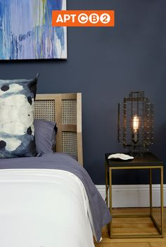 @Athena Calderone loves a happy accident. The sconce felt better on the stool than applied to the wall. Get flexible with your bedroom lighting with the #APTCB2 Bedroom Collection at www.cb2.com/APTCB2 #sconce